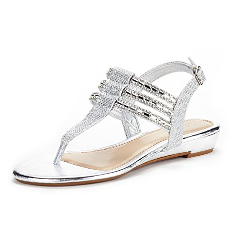 DREAM PAIRS Women's Estelle_W Silver Fashion Rhinestones Low Wedge Sandals Size 7.5 M US ()