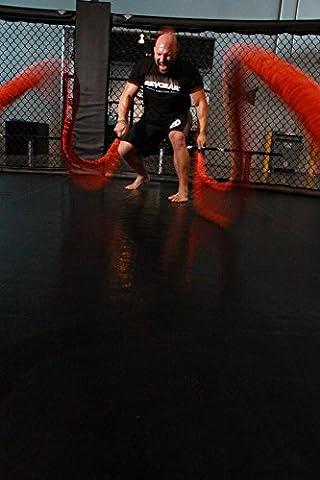 Stroops MMA 20 ft. The Beast Battle Rope 150 lbs. Slastix with Orange Fabric Loops (The Beast Slastix Battle Rope)
