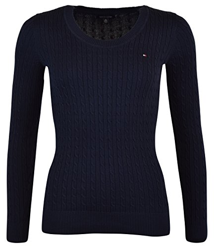 Tommy Hilfiger Womens Scoop Neck Cable Knit Sweater (X-Small, Navy)