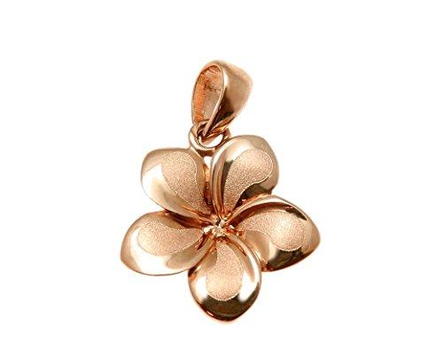 14k Solid pink rose gold Hawaiian 13mm plumeria flower charm pendant