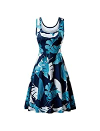 KpopBaby Dress for Women, Women Vintage 1950s Sleeveless Strappy Printing Evening Party Prom Swing 2019 Summer
