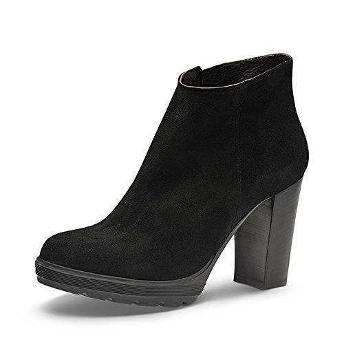 Evita Shoes UBALDA Damen Stiefelette Rauleder Schwarz