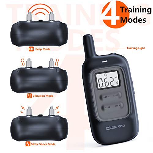Shock Collar for Dogs - Dog Training Collar with Remote 1000Ft Rechargeable Rainproof Anti Bark E Collar,Beep Vibration Shock for Small Medium Large Dogs (2018 New) by MOSPRO (Image #2)