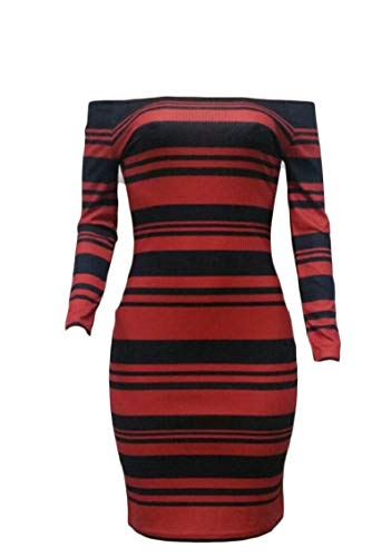 Shoulder Stripe Pencil Midi Long Dress 1 Off Bodycon Sleeve Jaycargogo Womens Party XwqH1UXE