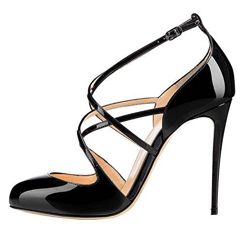 Cuckoo-Women-Ankle-Strap-Sandals-Lady-High-Heel-Stiletto-Paten-Shoes