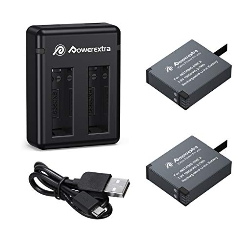 Powerextra 2 x 1500mAh Battery and Charger Compatible with Insta360 ONE X