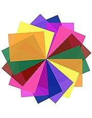 SAKOLLA 16 Pack Color Correction Gel Light Filter - Transparent Color Lighting Gel Filter Plastic Sheets, 8.5 by 11 Inches, 8 Colors