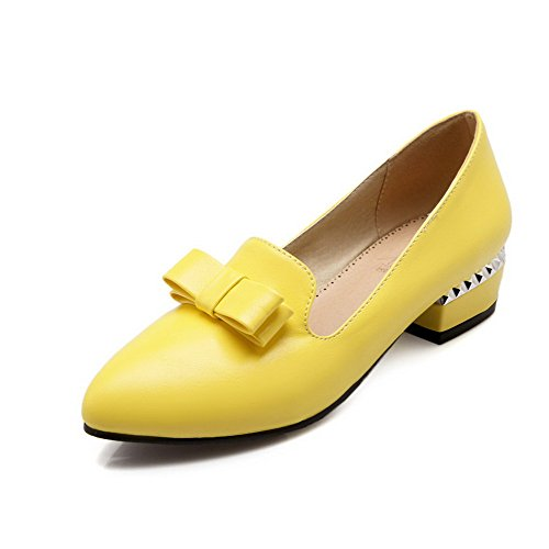 VogueZone009 Women's Soft Material Pointed Closed Toe Low-Heels Pull-On Solid Pumps-Shoes Yellow