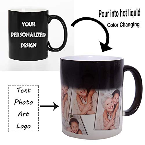 Magic Custom Color Changing Coffee Mug Cup, Personalized DIY Print Ceramic Hot Heat Sensitive Cup Birthday Christmas Gift -Add YOUR PHOTO&TEXT ()