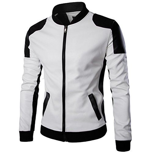 AOWOFS Men's Fashion Stand Collar Faux Leather Jacket Slim Fit White Black Baseball Bomber Coat ()