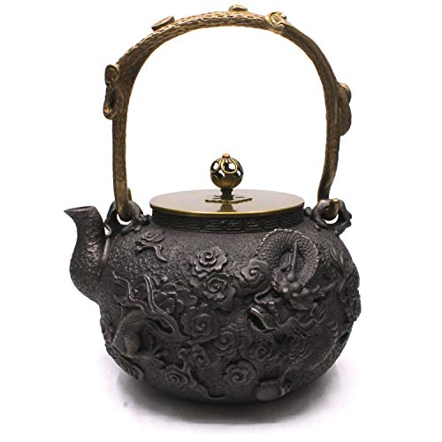- Cast Iron Teapot, Sotya Japanese Tetsubin Cast Tea Kettle with Copper Lid and Insulation Handle