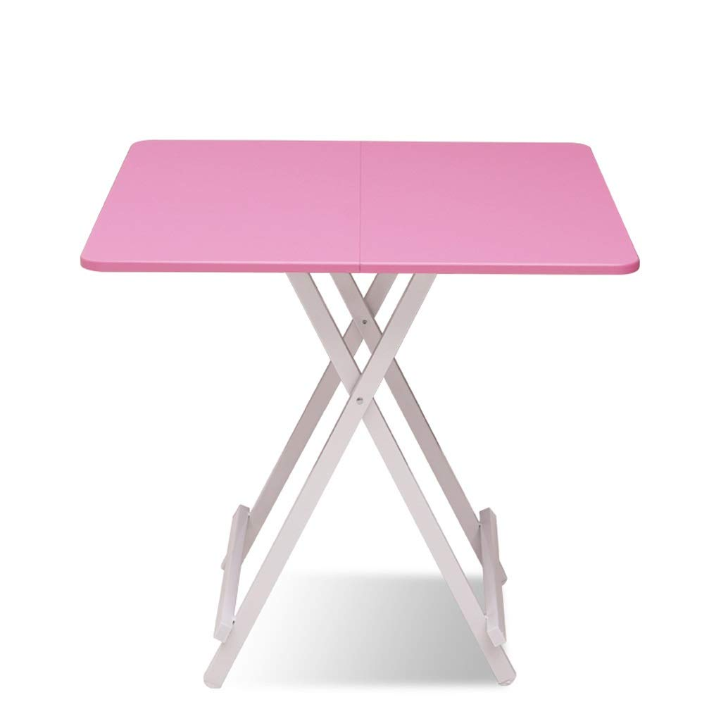 G 80X80CM Folding Table Home Portable Solid Wood Desktop Square Balcony Garden Metal Legs Small Dining Table (color   D, Size   80X80CM)