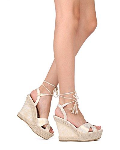 Sandalo Con Zeppa Espadrillas Alrisco - Sandalo Con Zeppa Peep Toe - Sandalo Con Cinturino Alla Caviglia Nappa - Hd38 By Refresh Collection Champagne Metallic