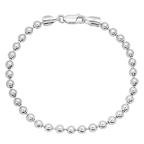 4mm Real 925 Sterling Silver Nickel-Free Military Ball Bracelet, 7