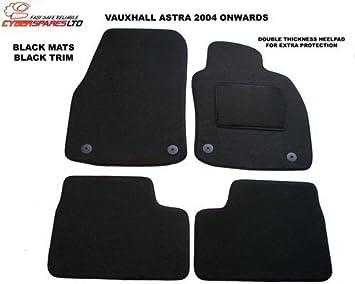 TAILORED CAR FLOOR MATS BLACK CARPET WITH RED TRIM VAUXHALL TIGRA 2004