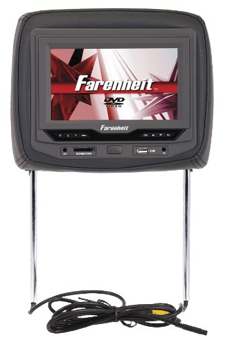 Farenheit HRD-93GRDK Single Universal Headrest Replacement Preloaded with - Headrest Dvd Player Dark Gray
