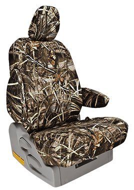 Custom Fit Toyota Tacoma Seat Covers (2009-2015) Front Seat Set - in Realtree Max-4 print - Buckets w/ Passenger Side Fold Flat Backrest and Adjustable Headrests