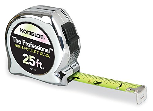 Komelon 425HV High-Visibility Professional Tape Measure, 25-Feet by 1-Inch, Chrome by Komelon