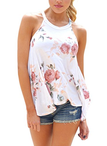 Sidefeel-Women-High-Neck-Floral-Print-Sleeveless-T-shirt-Tank-Top