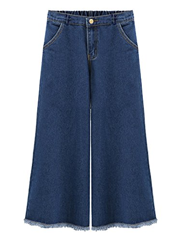 Gooket Women's Elastic Waist Wide Leg Crop Denim Pants Fringe Hem Blue Jeans Blue Tag 2XL-US 12-14