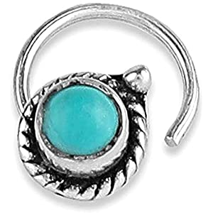monde éblouissant 92.5-925 Sterling Silver Trendy Turquoise Stone oxidised Nose pin for Womens and Girls
