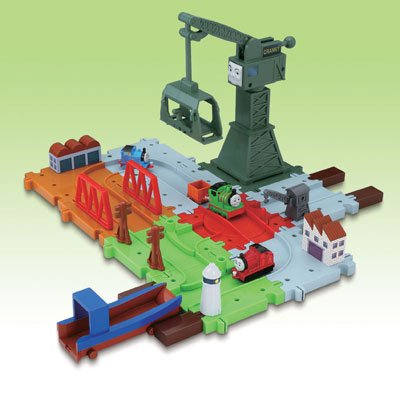 Bandai Mischief Cranky set with Thomas the Tank Engine block rail Percy