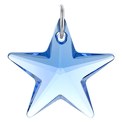 925 Sterling Silver Star Pendant - Gem Avenue 925 Sterling Silver Star Blue Crystal 27mm Charm Swarovski Elements Pendant