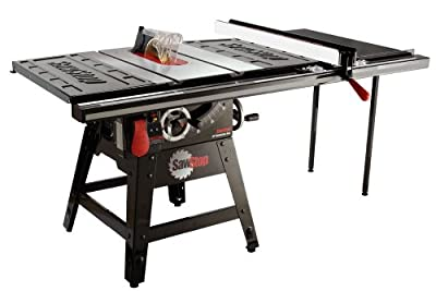 Sawstop Contractor Saw with 36-Inch Professional T-Glide Fence System including Rails and Extension Table