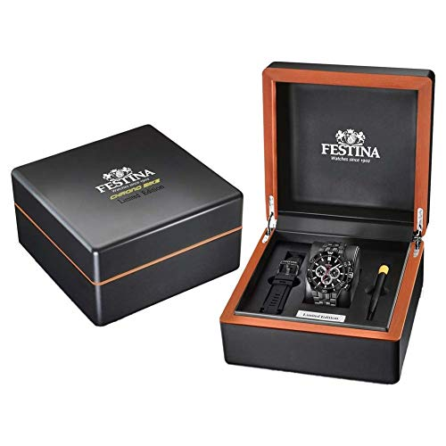 - Festina Limited Edition - F20453/1 - Sapphire Glass - Black Dial - Charcoal Gray Steel Strap - Steel Case 44mm 10ATM - Chrono
