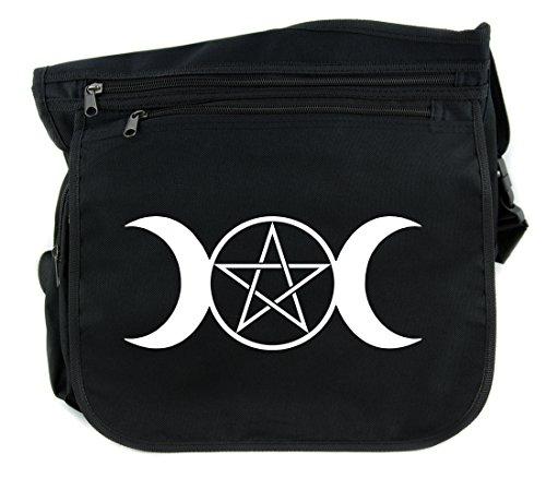 Triple Goddess Moon Pentagram Sling Messenger Bag Cross Body Handbag Wicca Neopagan Symbol