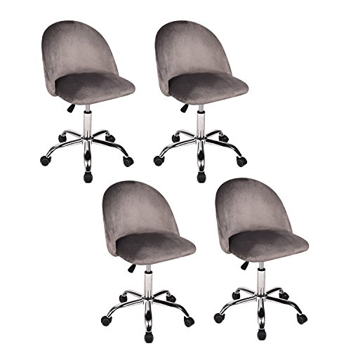 Cheap Living Room Leisure Chair, Velvet Fabric Cushion Seat Mental Rack Support Low-Back Soft Back Living Room Chairs 5 Wheels, Set of 4 Grey