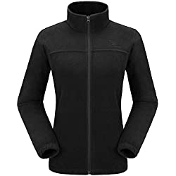 CAMEL CROWN Women Full Zip Fleece Jackets with Pockets Soft Polar Fleece Coat Jacket Sweater for Spring Outdoor New Black L