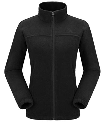 CAMEL CROWN Women Full Zip Fleece Jackets with Pockets Soft Polar Fleece Coat Jacket Sweater for Spring Outdoor New Black M