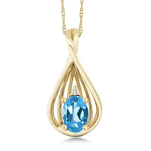 0.50 Ct Oval Swiss Blue Topaz and Diamond 10K Yellow Gold Teardrop Pendant Necklace With 18 Inch Chain