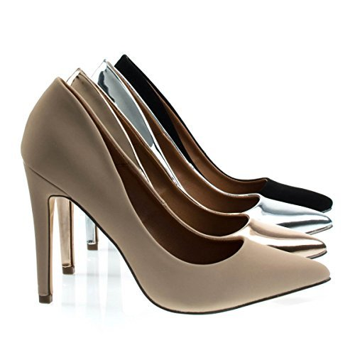 Cadence1 Nude Beige Classic High Heel Dress Pump w Pointed Toe, Stiletto Heel & Padded Sole -7.5 ()