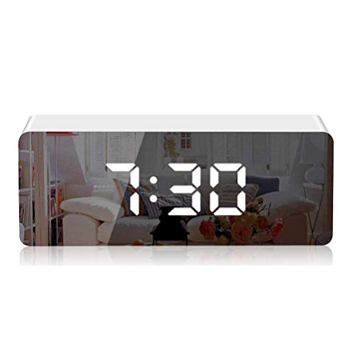 KKshop Despertador Digital Espejo LED Despertador Electronico, Espejo Reloj Digital Moderno con Funcion de Alarma, Snooze y Memoria Automatica, Luminancia Ajustable