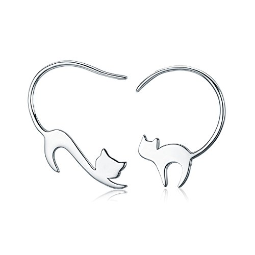 Vancleef Costume (JUFU Animal Collection 925 Sterling Silver Cute Napping Little Cat Drop Earrings for Women Sterling Silver Jewelry Gift (Cat))