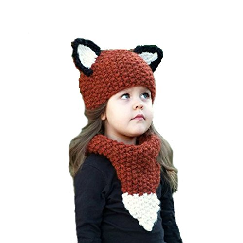 Baby Girls Boys Winter Hat Scarf Earflap Hood Scarves Caps (Red Squirrel 2-8 years old) (Squirrels Two)