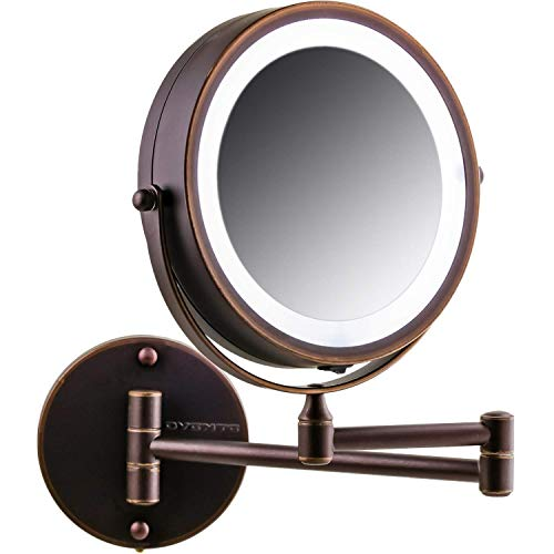 (Ovente Wall Mount LED Lighted Makeup Mirror, Battery Operated, 1x/10x Magnification, 7 Inch, Antique Bronze (MFW70ABZ1X10X) )