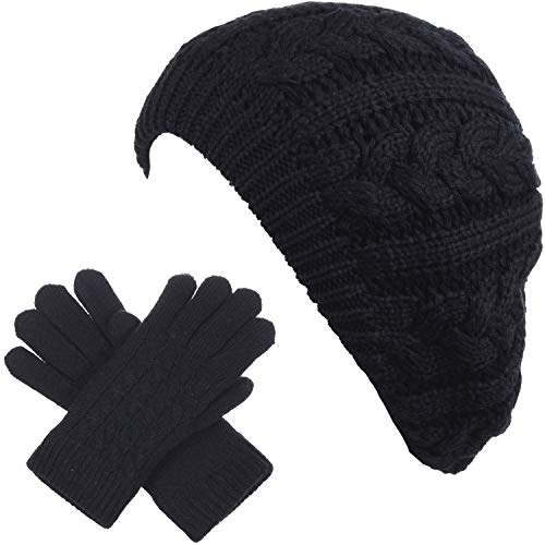 BYOS Women's Winter Classic Cable Fleece Lined Knit Beret Beanie Hat Gloves Set ()