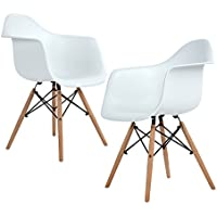 ELERANBE - Set of 2 (Two) White Arm Chair- Eames Eiffel Style Lounge ArmChair Chairs Natural Wood Wooden Legs for Dining Room Living Room Cafe Kitchen
