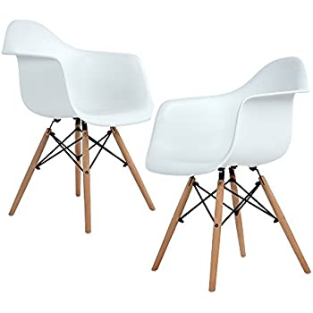ELERANBE   Set Of 2 (Two) White Arm Chair  Eames Eiffel Style Lounge