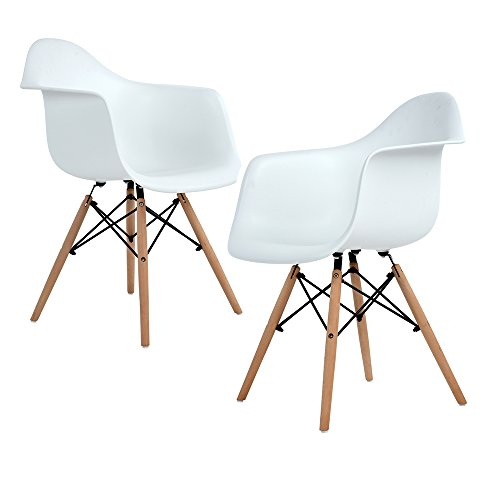 ELERANBE Set of 2 Two White Arm Chair- Eames Eiffel Style Lounge ArmChair Chairs Natural Wood Wooden Legs for Dining Room Living Room Cafe Kitchen