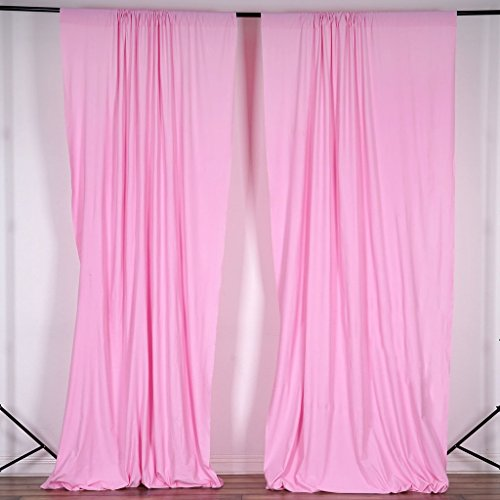 BalsaCircle 10 ft x 10 ft Pink Polyester Photography Backdrop Drapes Curtains Panels - Wedding Decorations Home Party Reception Supplies ()