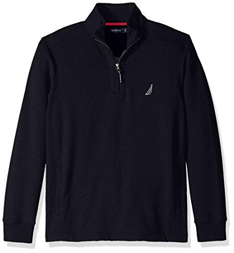 Nautica Men's Long Sleeve Half Zip Mock Neck Sueded Fleece Sweatshirt, True Navy, Small by Nautica