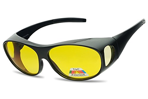 SunglassUP 62mm Polarized Wear Over Spring Hinge Sunglasses Fit over Prescription Glasses (Black, Yellow - Glasses Over Prescribed