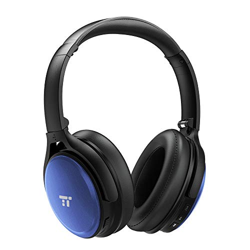 TaoTronics Active Noise Cancelling Bluetooth Headphones, Over Ear Wireless Headset, Dual 40 mm Drivers with Powerful Bass (30 Hour Playtime, CVC 6.0 Noise-Cancelling Mic, High Clarity Sound)-Blue ()