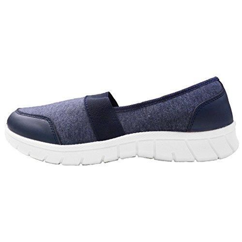 Trueboy Walking Elastic Shoes Navy On Gym Get Ladies Go Slip Fit Fitness Foam Trainers Tab Memory IqIrP