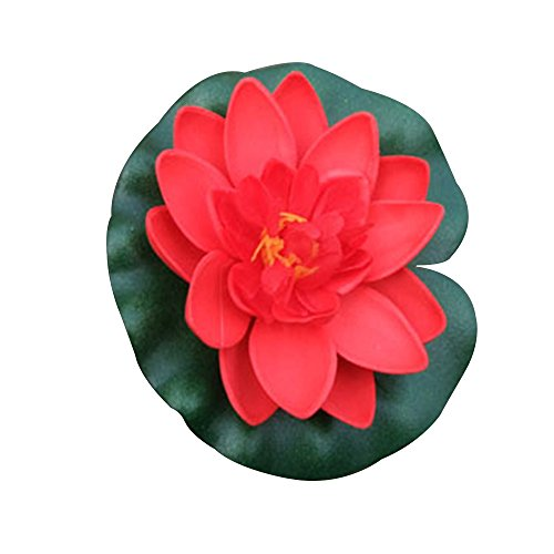 TiTa-Dong Simulation Artificial Lotus Water lily Floating Flower Decor Pool Pond Plant Ornament Red ()
