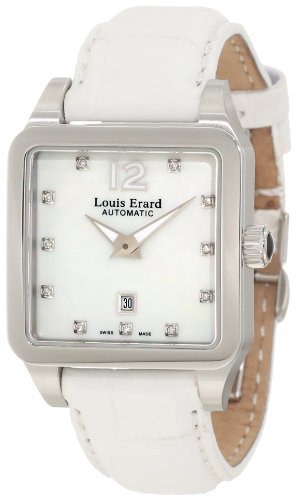 Louis Erard Women's 20700AA14.BAV10 Emotion Square Automatic White Alligater Leather Diamond Watch